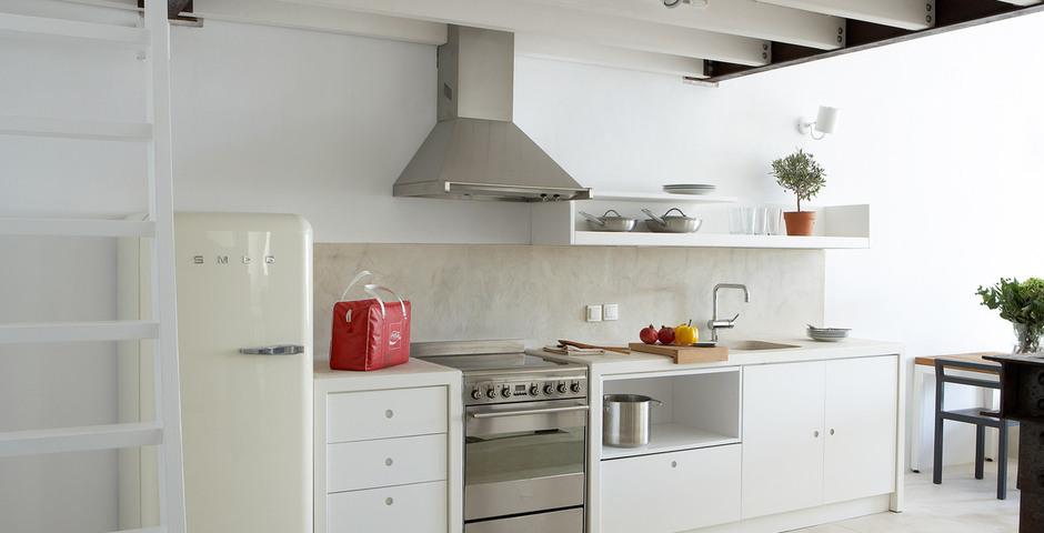 Show luxury villa santorini greece old factory loft style milos kitchen