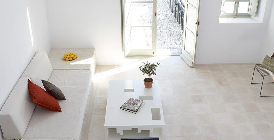 Show luxury villa santorini greece old factory loft style milos view loft space