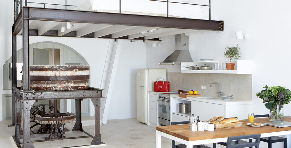 Show luxury villa santorini greece old factory loft style milosdining preserved machines