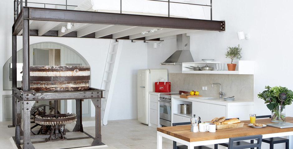 Show luxury villa santorini greece old factory loft style milosdining preserved machines