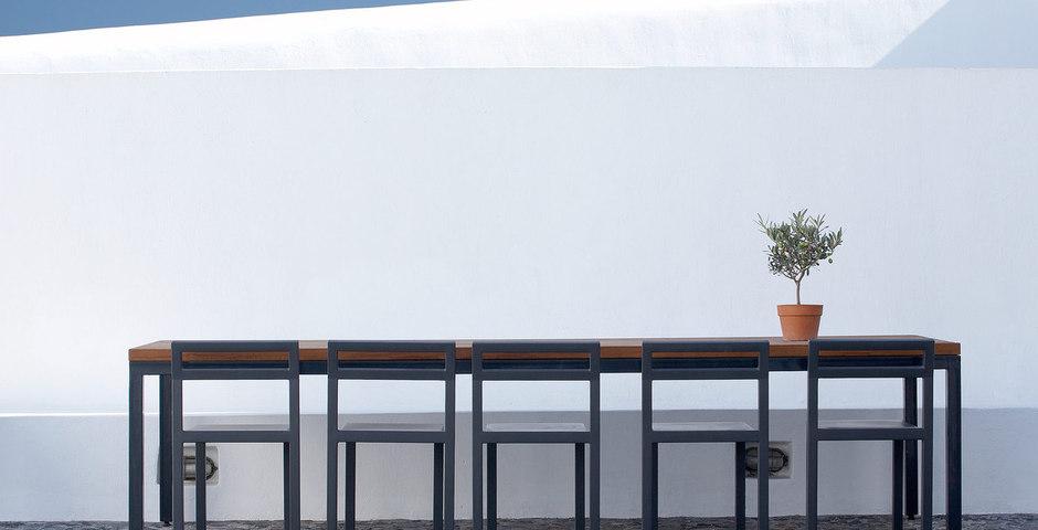 Show luxury villa santorini greece old factory loft style outdoor dining area