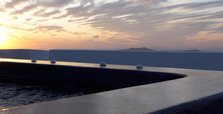 Show luxury villa santorini greece old factory loft style roof terrace sunset