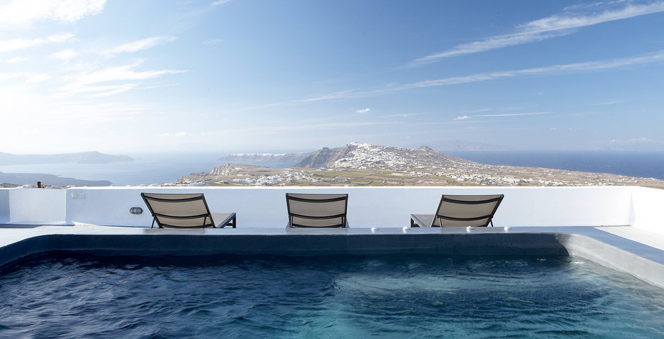 Show luxury villa santorini greece old factory loft style roof terrace outdoor jacuzzi
