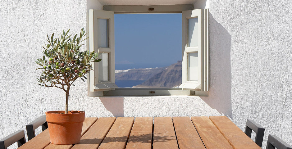 Show luxury villa santorini greece old factory loft style outside dining window view