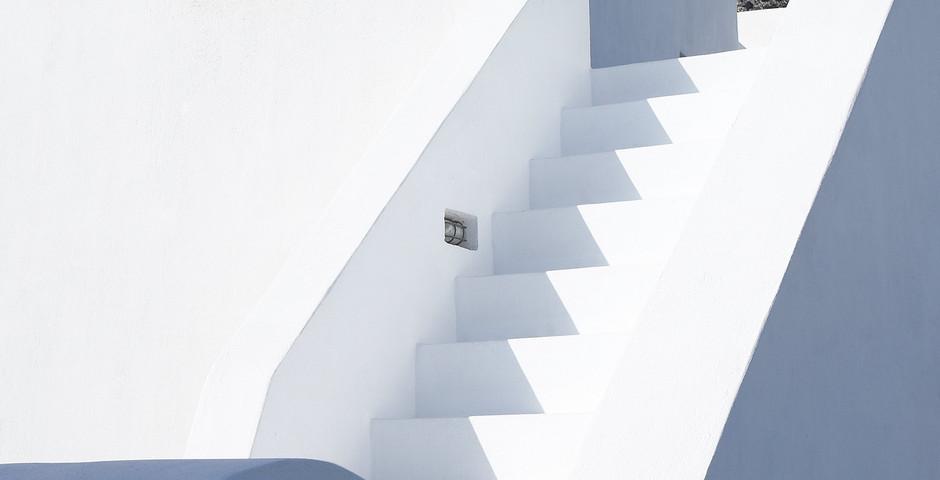 Show luxury villa santorini greece old factory loft style stairs roof terrace