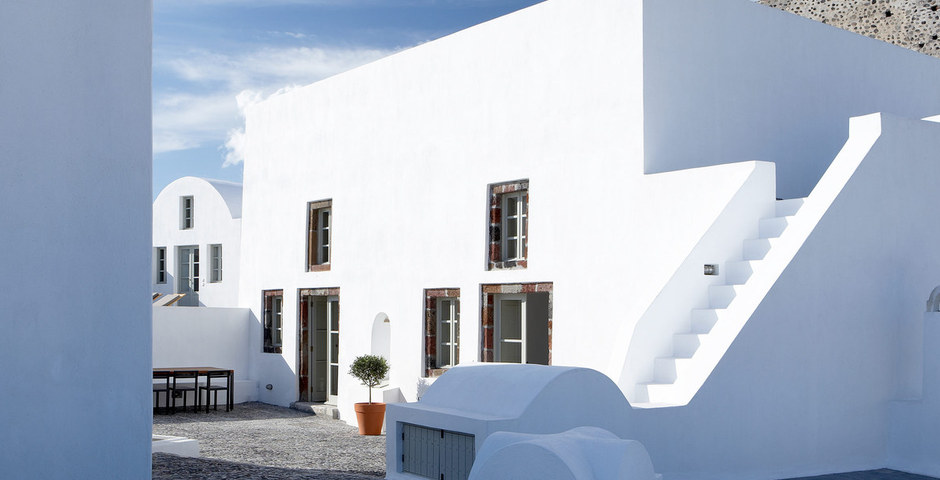 Show luxury villa santorini greece old factory loft style upper courtyard milos canava