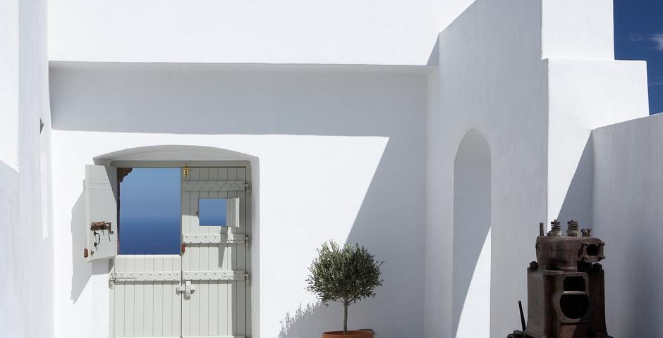 Show luxury villa santorini greece old factory loft style upper entry space