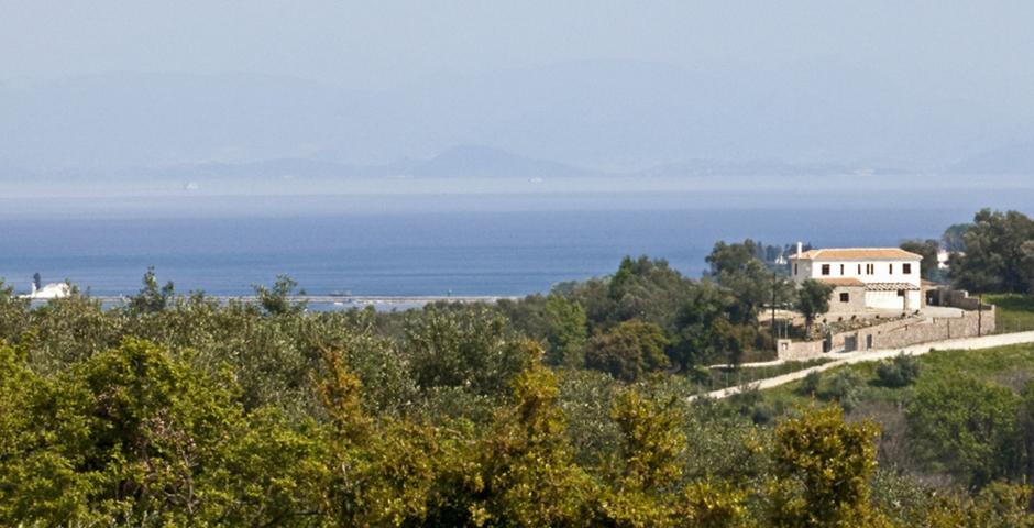 Show luxury seafront villa corfu piedra villa view landscape