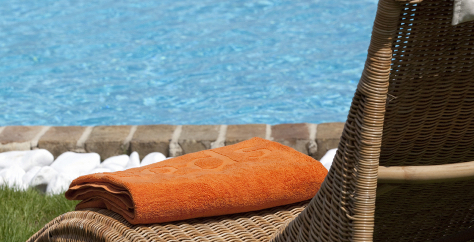 Show luxury seafront villa corfu piedra sunbed detail pool towel