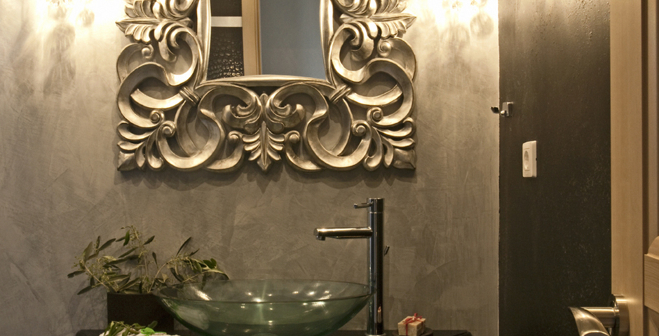Show luxury seafront villa corfu piedra detail bathroom