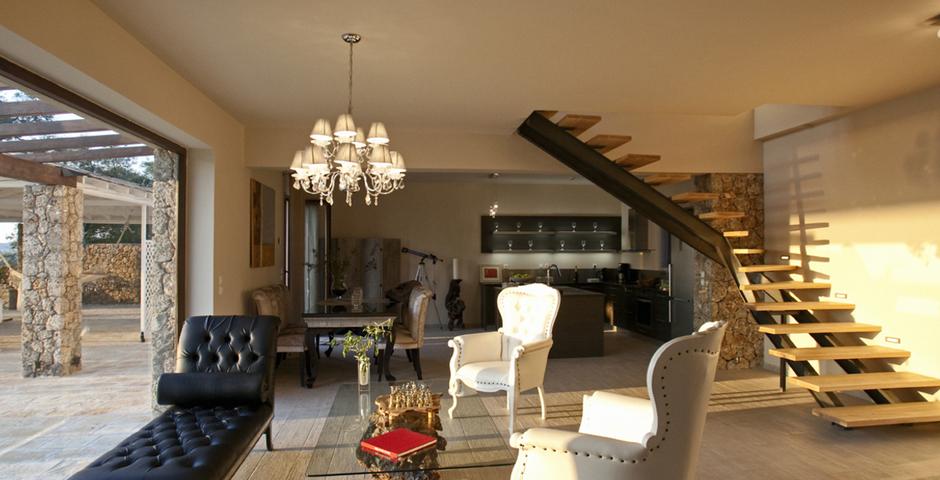 Show luxury seafront villa corfu piedra livingroom