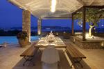 Thumb luxury seafront villa corfu piedra outdoor dining area by night