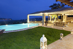 Thumb luxury seafront villa corfu piedra swimming pool area by night